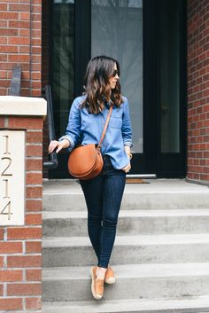 Chambray Shirt + Bandana + Dark Blue Jeans + Brown Shoes + Brown Handbag // Crystallin Marie