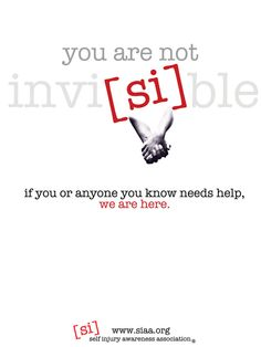 ****www.siaa.org is NOT a real site**** this was done as a project by the artist! Great awareness poster though! Self Injury Awareness Poster 5 by ~marigoldwithersaway on deviantART