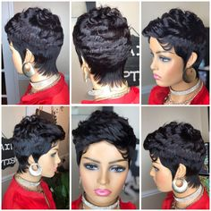 Short Wavy Pixie, Short Cut Wigs, Pixie Cut Wig, 27 Piece Hairstyles, Wig Hairstyles, Remy Human Hair, Human Hair Wigs, Wig Styles, Short Hair Styles