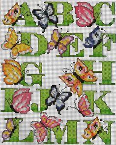Cross-stitch Butterfly Alphabet, part color chart on part 2 Cross Stitch Alphabet Patterns, Cross Stitch Letters, Stitch Patterns, Counted Cross Stitch Kits, Cross Stitch Charts, Cross Stitching, Cross Stitch Embroidery, Butterfly Cross Stitch, Cross Stitch Pictures
