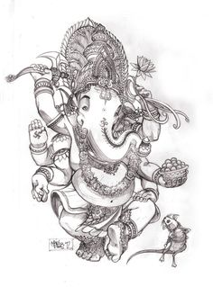 This is one of my drawing dedicated to of god ganesh patron god of Art and architect also the patron god of the silpakorn university I draw this in the combination of thai traditional style and som...