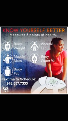 Are you ready to learn the 5 points of your health...Body weight, Muscle mass,Body fat,Visceral fat & Body water%.  For Free consult. Act Now & Send me a message to schedule your free analysis!