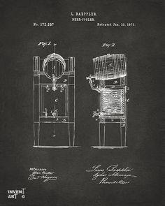 1876 Beer Keg Cooler Patent Artwork - Gray Drawing