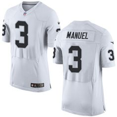 Men s Nike Oakland Raiders  3 E. J. Manuel Elite White NFL Jersey Marquette  King 2693449bf