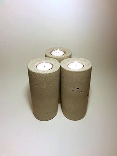 Candle Holder Concrete Candle Rustic Candle by DeerwoodCreekGifts, $25.00