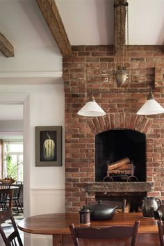 I Love A Fireplace Placed High On The Wall In Kitchen Or Dining Room