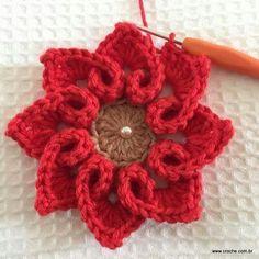 A Collection Of Crochet Flower - Diy Crafts - maallure Crochet Flower Tutorial, Crochet Flower Patterns, Crochet Stitches Patterns, Crochet Designs, Crochet Flowers, Crochet Towel, Crochet Dishcloths, Love Crochet, Easy Crochet