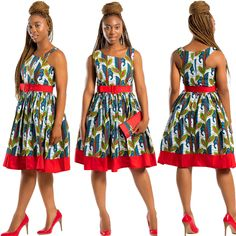 Our Ayana dress is Perfect for any occasions: cocktail, weddings, parties, church etc. #africanprint #africanfashion #summerdress #africanprintdresses
