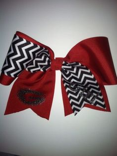 Red and black chevron cheer Georgia Girl cheerleading hair bow Boutique Big Bow