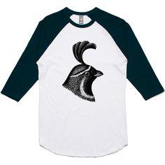 theIndie Crested Bird (Black) 3/4-Sleeve Raglan Baseball T-Shirt