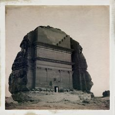 The historic Nebatean ruins of Mada'in Saleh, carved into sandstone mountains thousands of years ago. Each of these historical structures were used as tombs for the wealthy during the Nebatean era which stretched from Petra in Jordan then southward throughout most of the Hejaz region of present day Saudi Arabia.