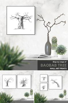 Black and white ink drawings of baobab trees your bedroom or living room. Visit my Etsy store to shop my range of wall art prints and print sets inspired by African nature. #wallart #DIY #printable #livingroom #bedroom #decor #large #bathroom #prints #kitchen #painting #ideas #minimalist #blackandwhite #sets #modern #minimal #tree #entryway #etsy Grey Wall Art, Black And White Wall Art, White Ink, Artwork For Living Room, Living Room Pictures, Wall Art Decor, Wall Art Prints, Baobab Tree, Bathroom Prints