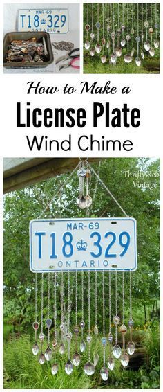 Make a fun license plate wind chime using souvenir spoons for the lovely tinkling chimes.