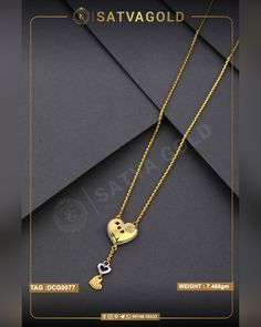 Heart Pendant Chain Set is made of pure gold and has unique design of curvy heart with stones on the edge along with two different hearts attached to create this lovely look. . . #satvagold #gold #puregold #kada #ring #rakhi #rakhshabandhan #giftforsister #bracelet #explore #18ct #18k #22k #rosegold #yellowgold #hallmark #hallmarkjewellery #celebration #sister #diamond #gems #beautiful #goldjewellery #jewellerydesign Gold Chain With Pendant, Chain Pendants, Pendant Set, Arrow Necklace, Gold Necklace, Gold Ornaments, Sister Gifts, Wholesale Jewelry, Gold Chains