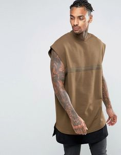 ASOS Super Longline Cap Sleeve Sweatshirt With Taping & T-Shirt Hem -