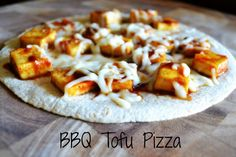 Ingredients  1 whole wheat tortilla 3 oz extra firm tofu, cut into 1-inch pieces 1/3 cup shredded mozzarella 2 TBSP BBQ sauce  (I made gluten free and wheat free substitutions)