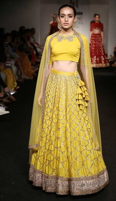 Looking for yellow lehenga closed neck blouse? Browse of latest bridal photos, lehenga & jewelry designs, decor ideas, etc. on WedMeGood Gallery. Lehenga Choli, Lehenga Indien, Indian Lehenga, Bridal Lehenga, Anarkali, Sarees, Indian Wedding Outfits, Indian Outfits, Bridal Outfits