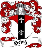 Heinz Coat of Arms - Visit our website at www.4crests.com for lots of great products featuring this family coat of arms.  We carry glassware, rings, plaques, flags, prints, jewelry and hundreds of other Crest products. #coatofarms #familycrest #familycrests #coatsofarms #heraldry #family #crest #genealogy #familyreunion #names #history #medieval #german #familyshield #shield #crest #clan #badge #tattoo #jewelry #crafts #scrapbooking #scrapbook #gift #germany