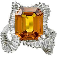 Piaget Orange Sapphire Diamond Platinum Ring.
