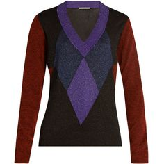 Marco De Vincenzo Diamond-intarsia V-neck sweater (28.665 RUB) ❤ liked on Polyvore featuring tops, sweaters, slim v neck sweater, metallic top, marco de vincenzo, intarsia sweater and slim fit v neck sweater