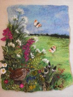 'Hedgerow in May' a combination of wet and needle felting. Www.facebook.com/pallywidden