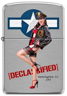 Pinup Lighters Custom Zippos - WWII Aviation Nose Art Pinup Girl Claire Sinclair Zippo Lighter, $39.95 (http://www.pinuplighters.com/wwii-aviation-nose-art-pinup-girl-claire-sinclair-zippo-lighter/)