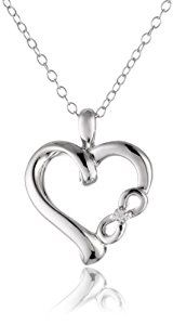 "Sterling Silver Diamond ""Infinite Love"" Symbolic Heart with Infinity Sign Pendant Necklace (0.01 cttw, I-J Color, I2 Clarity), 18""  http://electmejewellery.com/jewelry/necklaces/sterling-silver-diamond-infinite-love-symbolic-heart-with-infinity-sign-pendant-necklace-001-cttw-ij-color-i2-clarity-18-com/"