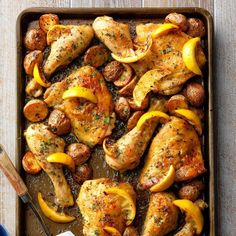 Everyone needs an easy meal. Try this sheet-pan chicken with roasted potatoes for a simple and tasty meal guaranteed to please the whole family. If you use fresh lemon juice, garnish each serving with a little lemon zest for bright flavor. —Andrea Potischman, Menlo Park, California Garlic Chicken Recipes, Lemon Chicken, Cooked Chicken, Roasted Chicken, Honey Mustard Chicken, Chicken Meals, Beef Recipes, Easy Recipes, Recipies