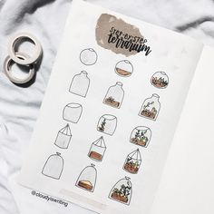 Step by step how to make a drawing of a terrarium for in the bullet journal