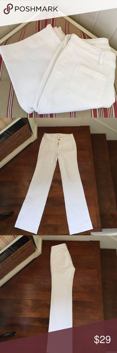 """EUC Loft White wide leg Jeans Used once excellent condition like New. Wide leg jeans 39 3/4"""" length 32"""" inseam front rise 8"""" back rise 12.5"""" wide leg mini flare bottom .looks great with wedges and a tucked in Tee or button down LOFT Jeans"""