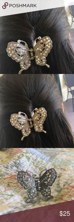 Butterfly hair clip BRAND NEW! Only tried on for picture. Very pretty and unique butterfly hair clip. Colorful stones that shine in the sun. Needs a new home ❤🦋 Accessories Hair Accessories