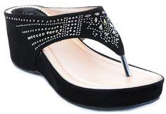 Studded Vegan Suede Wedge Flip Flop Sandal Women's Black