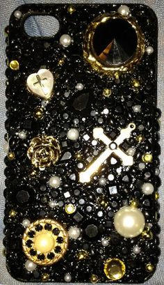 Handmade Black and Gold Bedazzled Cell Phone Case. $40.00, via Etsy. I LOVE THIS CASE!