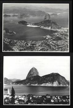 D. K. - RIO. Fotografias (2) do Rio antigo: a) Rio de Janeiro Visto do Alto do Corcovado, com o nome do fotógrao e localização na chapa, nº 72, c. 1920. 16,1 x 22,1 cm; e b) Rio de Janeiro, Pão DAssucar, nº 24, com o nome do fotógrafo e localização na chapa, c. 1920. 16,1 x 22,0 cm. Fotos em bom estado