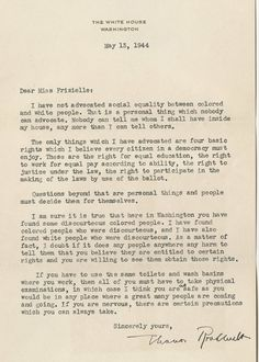 Eleanor Roosevelt to Addie Frizielle, May 13, 1944 (Gilder Lehrman Collection)