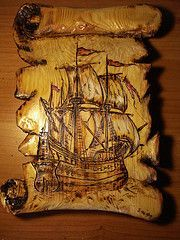 Wood Burning Art - Carved to look like an old scroll with a ship