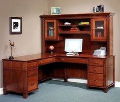 Amish Arlington Executive L Desk with Optional Hutch Top Berlin Office Collection The Amish Arlington Executive L Desk with Optional Hutch Top is a divine mixture of function and refinement. Executive Office Furniture, Home Office Furniture, Furniture Design, Furniture Nyc, Furniture Market, Baby Furniture, Furniture Online, Amish Furniture, Solid Wood Furniture
