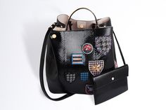 "Large ""diorific"" bag in black shiny python embroidered with badges - Leather goods Dior"