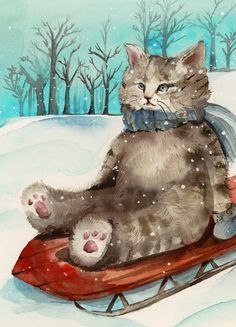 Cat Christmas cards cat cards winter cards  by amberalexander