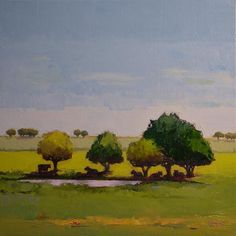 """Nice repetition with trees.  """"The Watering Hole"""" - Original Fine Art for Sale - © Donna Walker"""