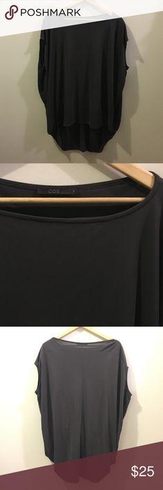 COS Oversized slinky gray top Blouse medium Beautiful lux Oversized Blouse. Creates a beautiful silhouette. Dark gray. Size medium. cos Tops Blouses