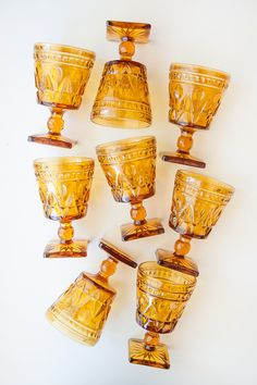 Vintage Amber Glassware Set of 8 by DuncanAndCo on Etsy