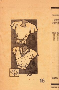 Anne Adams 4565 1940's blouse vintage sewing pattern.