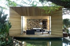 Outdoor/Indoor Library Office area designed by Fernanda Marques