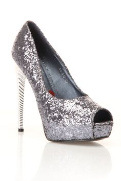 I know I already have silver sparkly platform stilettos, they aren't peep toes...