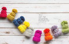DIY Ornaments: Tiny Yarn Hats    Mari Orr Art #DIY #Christmas