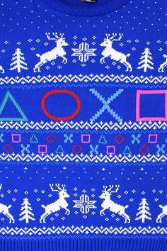 Official PlayStation Symbols Christmas Jumper   Hats and Jumpers   Yellow Bulldog