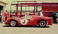 Geburtagsgeschenk für Männer - das Lieblingsauto als Gemälde wie dieses hier von:  Motorsport golden age  1967, Autodromo Nazionale Monza, Monza 1000 kms. Lorenzo Bandini´s Ferrari 330P4.  Awesome. Credit photo unknown