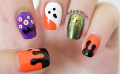 Easy no nail tools Halloween Nails for beginners! :D ❤