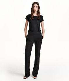 Black flared pants with metal buttons & side pockets. | H&M Modern Classics